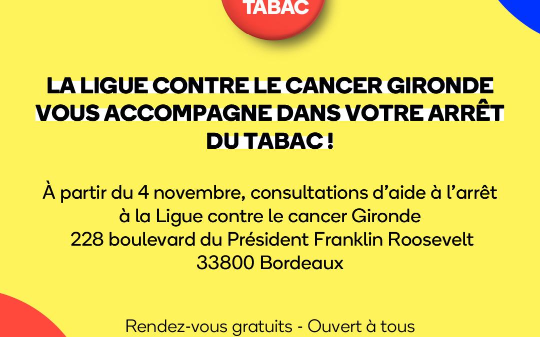 Mois Sans Tabac 2020 : La Ligue contre le Cancer Gironde vous accompagne dans votre arrêt du tabac.